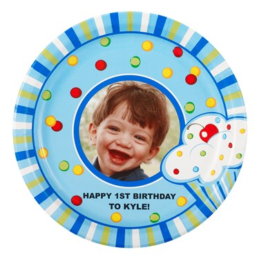 Boy's Lil' Cupcake 1st Birthday Personalized Dinner Plates