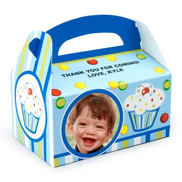 Boy's Lil' Cupcake 1st Birthday Personalized Empty Favor Boxes