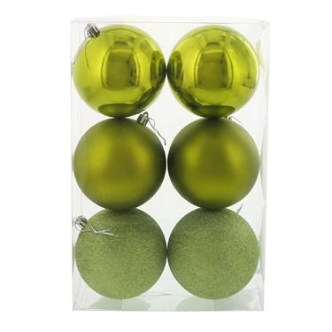 Bright Green 100mm Ball Ornament Set (6)