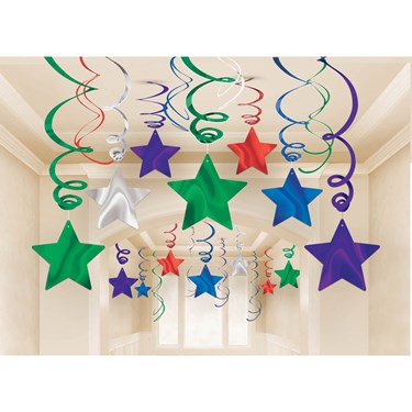 Bright Rainbow Foil Star Hanging Decoration
