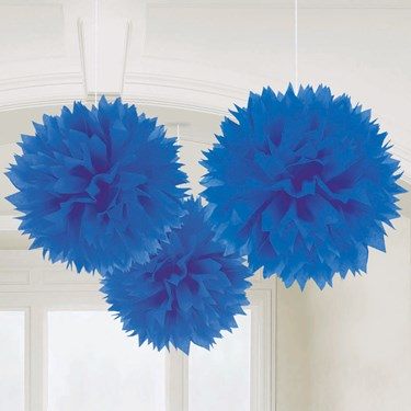 "Bright Royal Blue 16"" Fluffy Decorations (3)"