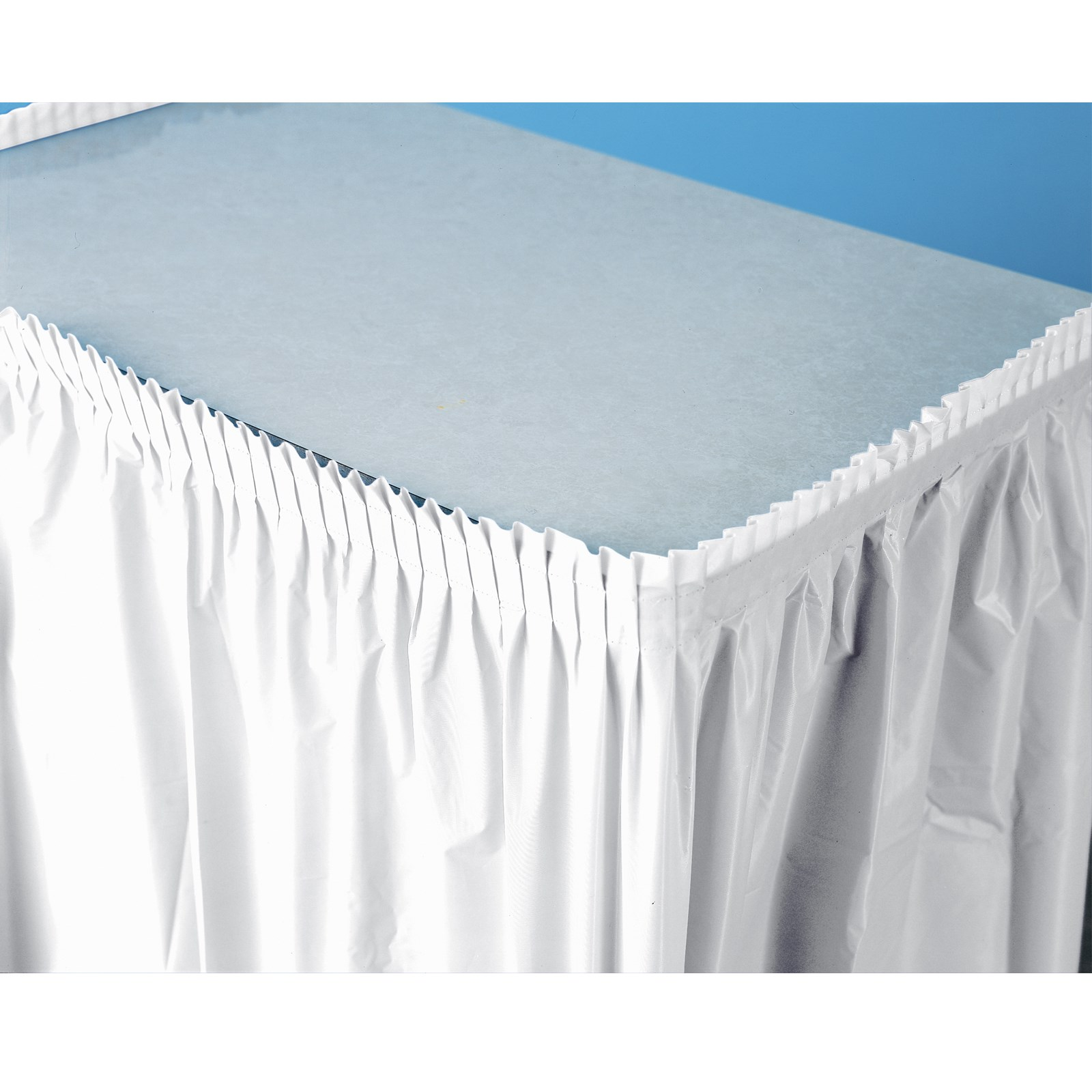 Bright white white plastic table skirt for Table skirting