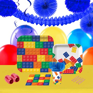 Building Block Party 16 Guest Tableware & Deco Kit