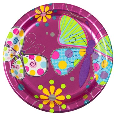 """Butterfly Sparkle 7"""" Metallic Cake Plates (8 Pack)"""