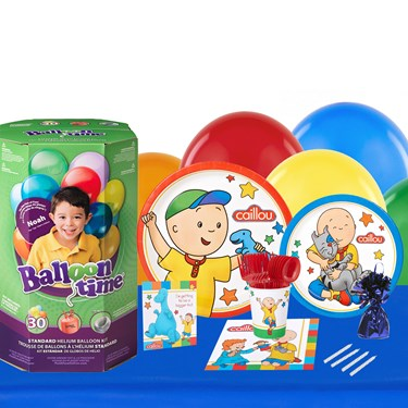 Caillou 16 Guest Kit with Tableware and Helium Kit