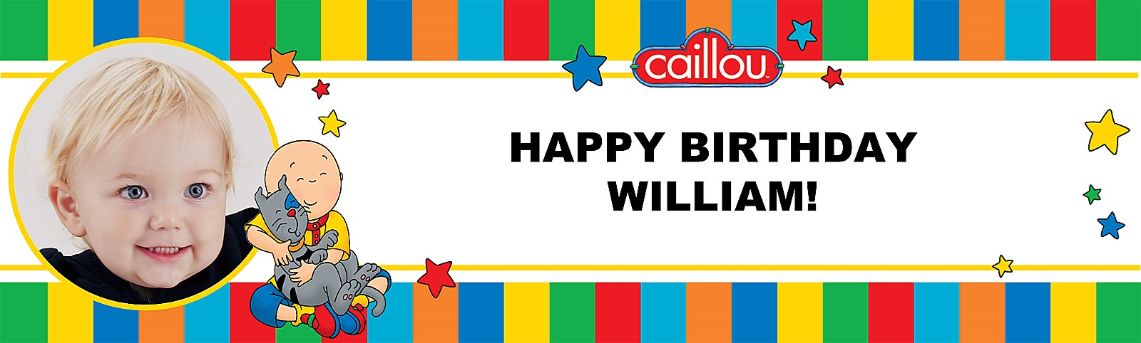 Caillou Personalized Photo Vinyl Banner | BirthdayExpress.com