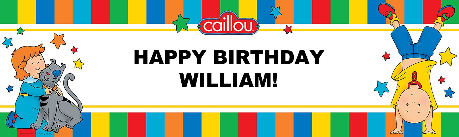 caillou personalized vinyl banner birthdayexpress com