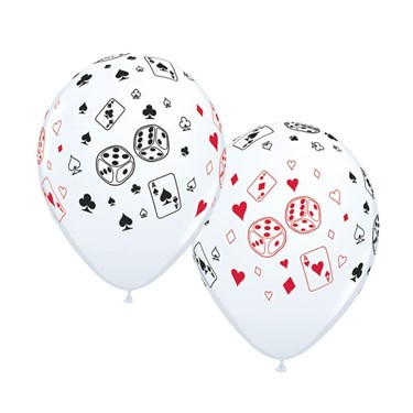 "Casino Cards & Dice 11"" Latex Balloons (50 Pack)"