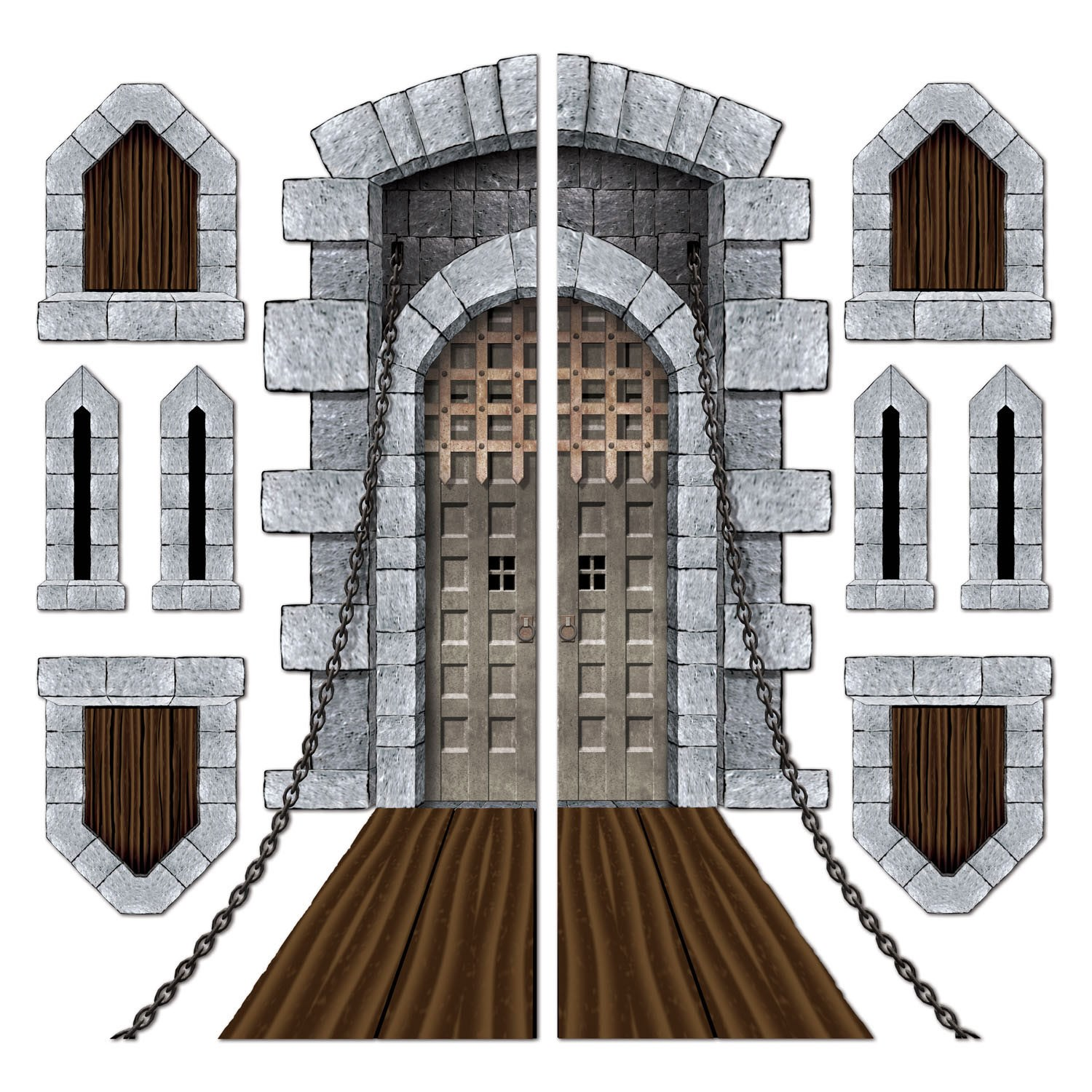 Castle door and window props add ons for Medieval decor
