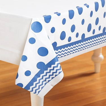 Chevron/Dots Blue Plastic Tablecover