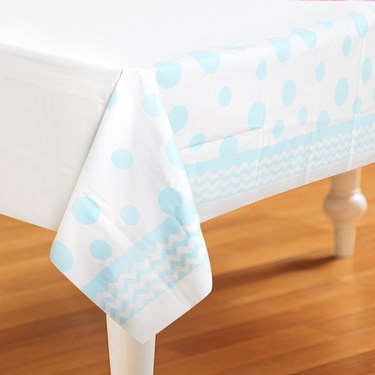 Chevron/Dots Pastel Blue Plastic Tablecover