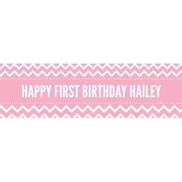 Chevron Pink Personalized Vinyl Banner