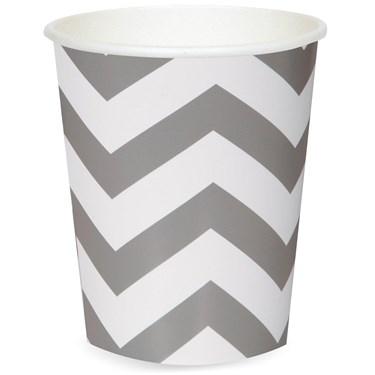 Chevron Silver 12 oz. Paper Cups (6)