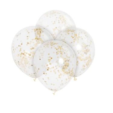 Clear Gold Confetti Latex Balloon (6)