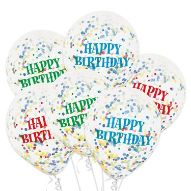 Clear Latex Birthday Balloons With Confe