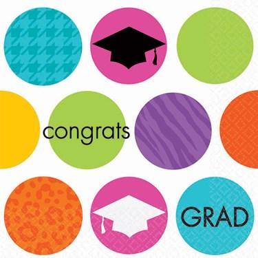 Colorful Commencement Graduation Beverage Napkins (36)