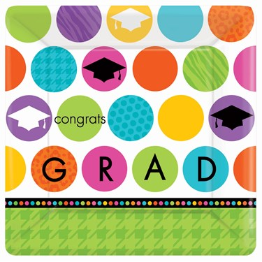 Colorful Commencement Graduation Square Banquet Dinner Plates (18)