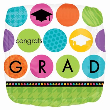 Colorful Commencement Graduation Square-Shaped Foil Balloon