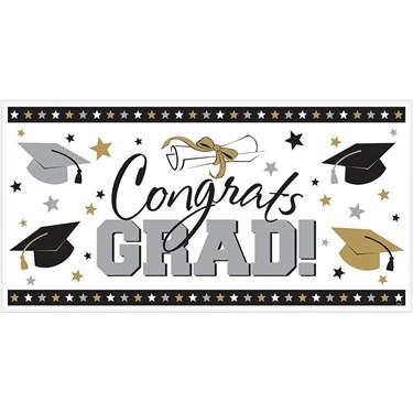 Congrats Grad 65 Plastic Banner (Each)
