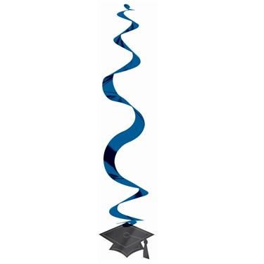 Congrats Grad Blue Graduation Hanging Swirl Decorations (30 count)