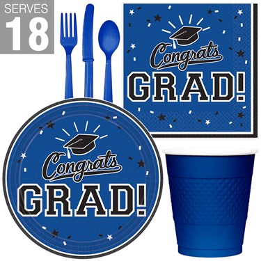 Congrats Grad Blue Party Pack For 18