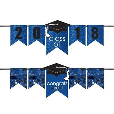 Congrats Grad Glitter Blue Graduation Ye