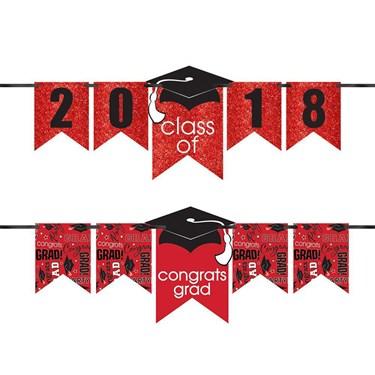 Congrats Grad Glitter Red Graduation Year Banner Kit