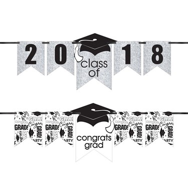 Congrats Grad Glitter White Graduation Y