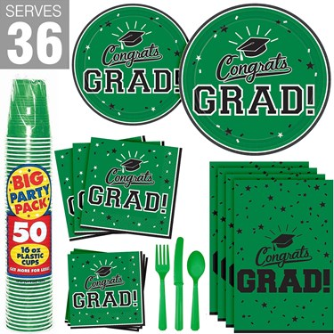Congrats Grad Green Party Pack For 36