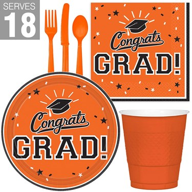 Congrats Grad Orange Party Pack For 18