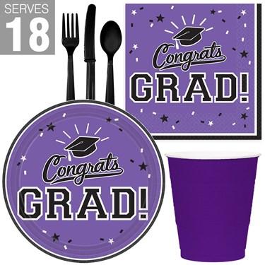Congrats Grad Purple Party Pack For 18