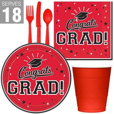 Congrats Grad Red Party Pack For 18
