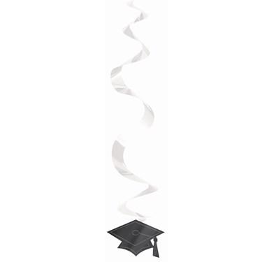 Congrats Grad Silver Graduation Hanging Swirl Decorations (30 count)