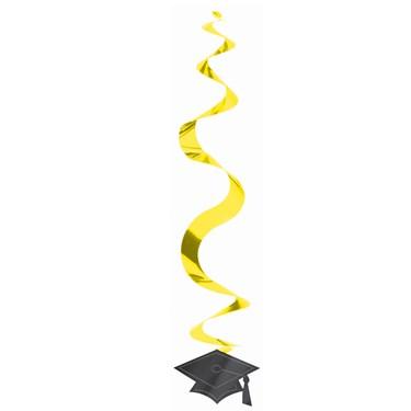 Congrats Grad Yellow Graduation Hanging Swirl Decorations (30 count)