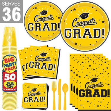 Congrats Grad Yellow Party Pack For 36