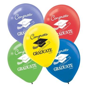 Congrats Graduate 12 Latex Balloons Asst. (15 Pack)