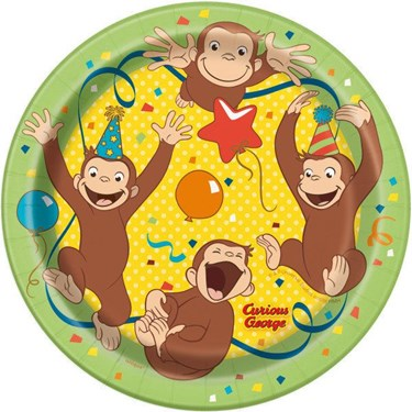 "Curious George 7"" Plates (8)"