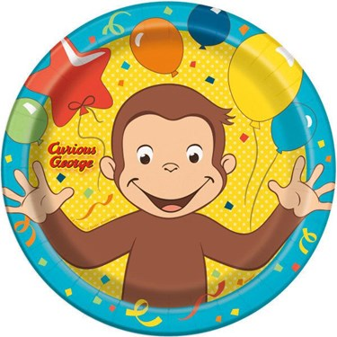 "Curious George 9"" Plates (8)"