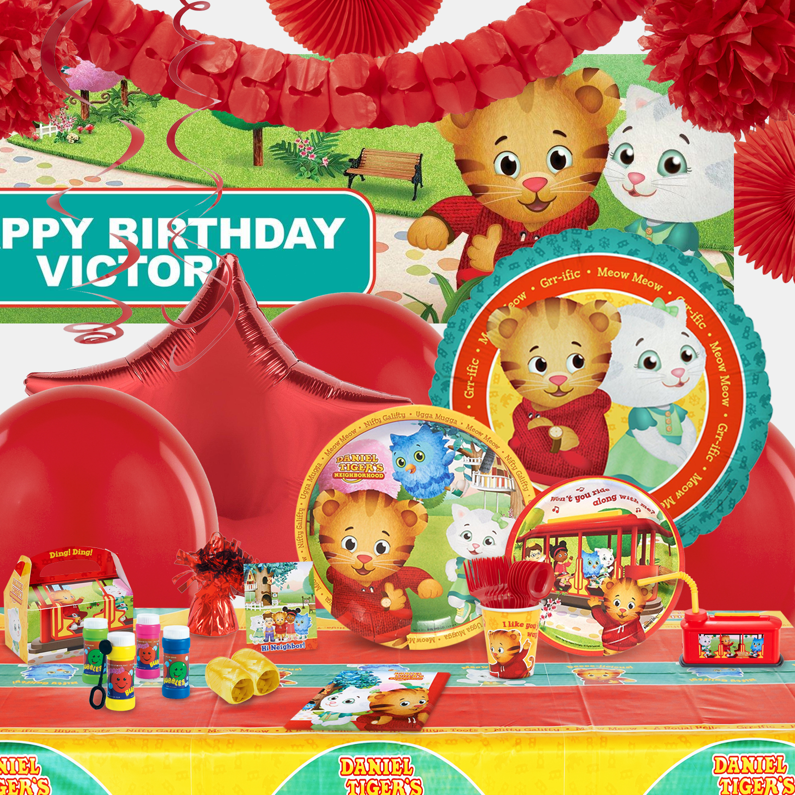 Alt. Image (1) - Daniel Tigers Neighborhood Party in a Box For 16