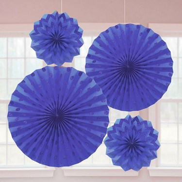 Dark Blue Glitter Paper Fan Decorations