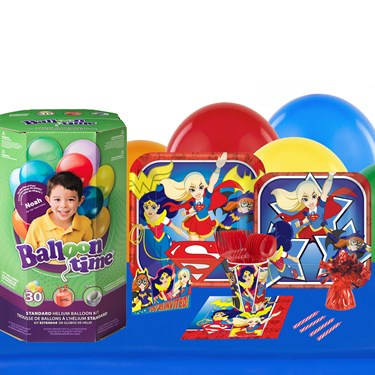 DC Super Hero Girls 16 Guest Kit with Tableware and Helium Kit