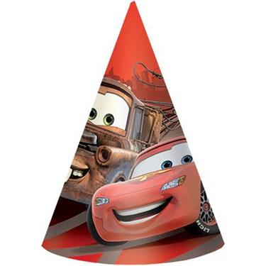 "Disney Cars 6"" Paper Cone Hats (8)"