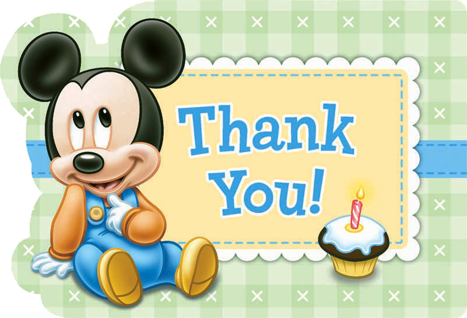 Disney Mickey 1st Birthday Thank You Notes