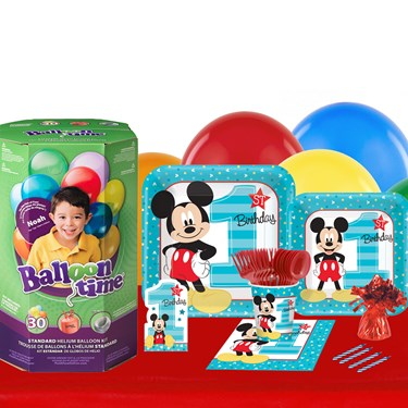 Disney Mickey Mouse 1st Birthday 16 Guest Party Pack and Helium Kit