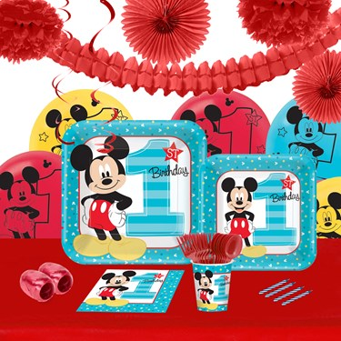 Disney Mickey Mouse 1st Birthday 16 Guest Tableware & Deco Kit