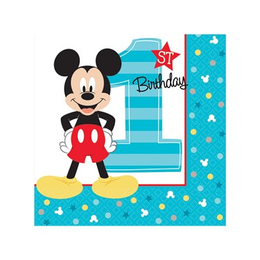 Disney Mickey Mouse 1st Birthday Beverage Napkins (16)