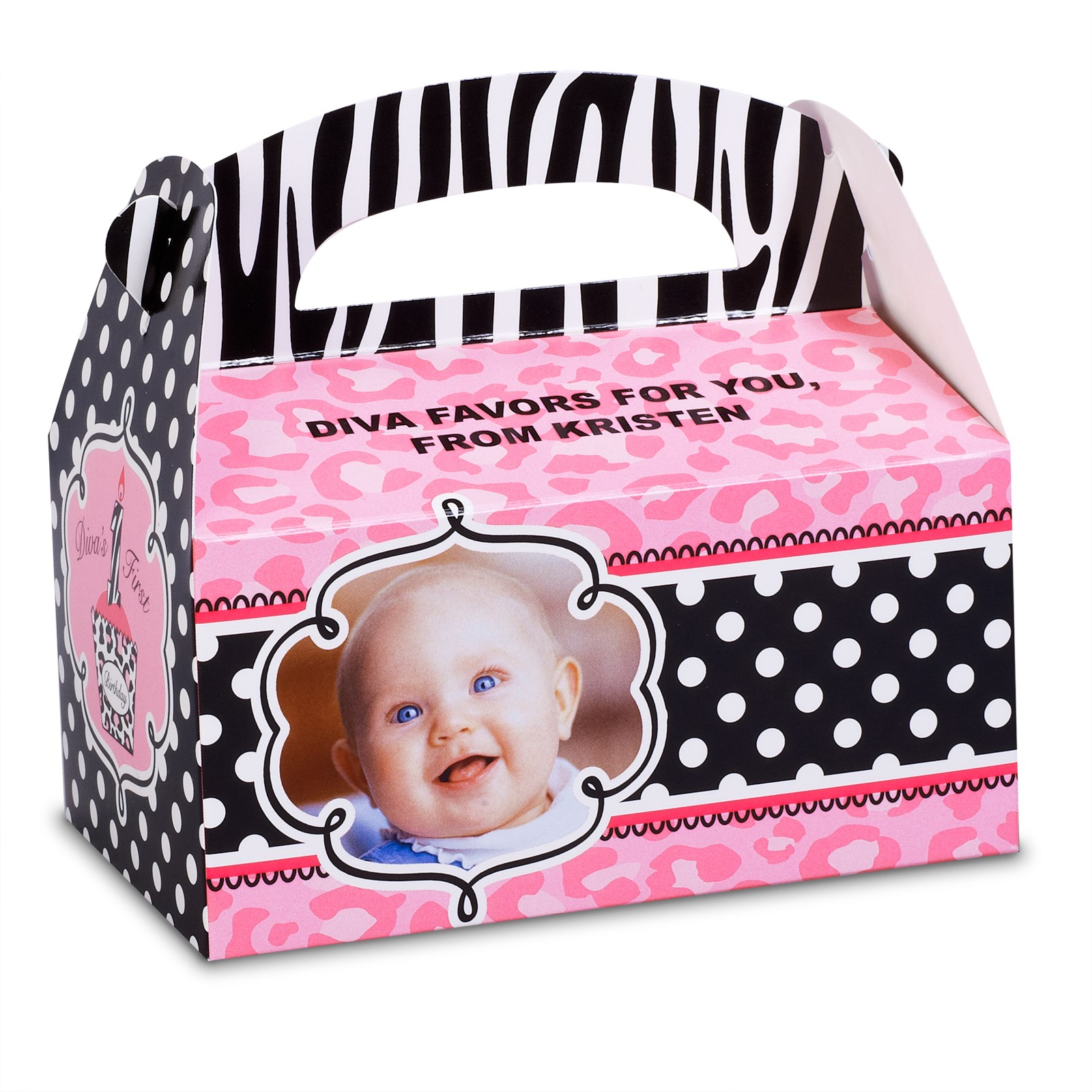 Personalized 1st Birthday Favor Boxes : Diva zebra print st birthday personalized empty favor