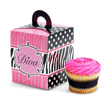 Diva Zebra Print Cupcake Boxes (4)