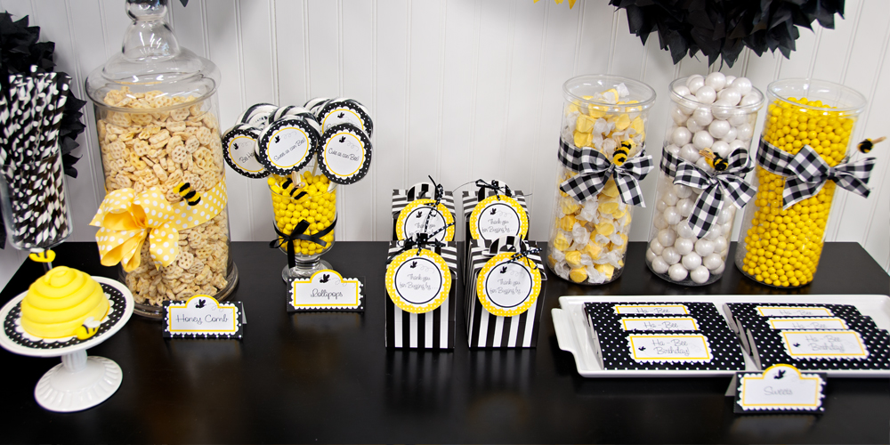Diy bumblebee party in a box for Honey bee decorations for your home