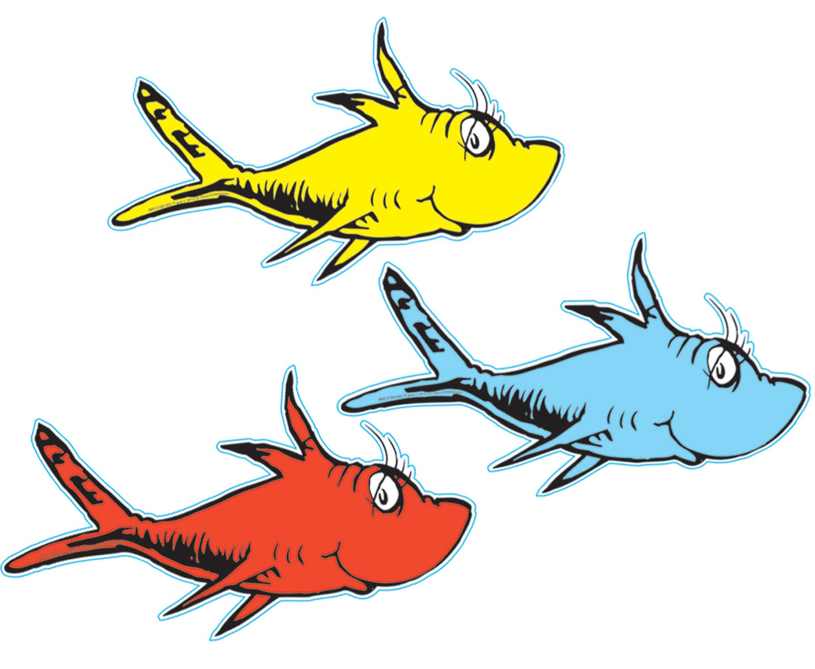 Dr seuss 1 fish 2 fish cutouts for Dr seuss one fish two fish